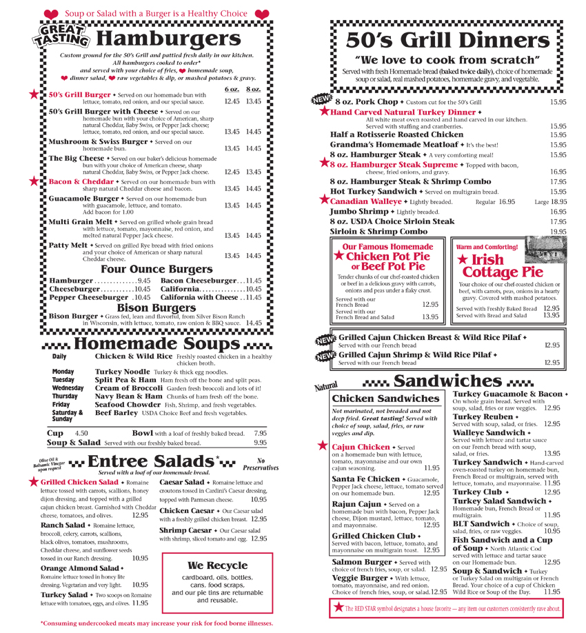 50's Grill Home Page – We Really Cook! - Brooklyn Center - Menu
